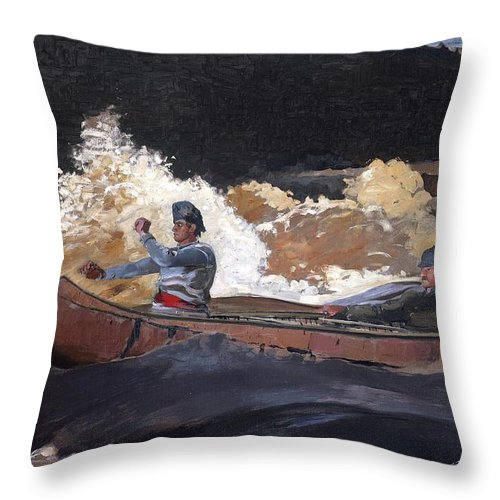 Americana Throw Pillow featuring the painting Shooting The Rapids Saguenay River by Philip Ralley