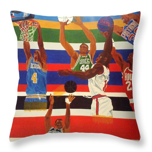 Basketball Throw Pillow featuring the painting Shoots N Hoops by Leslye Miller
