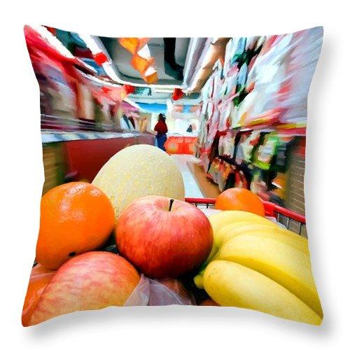 Apples Throw Pillow featuring the digital art Shopping 1 by Gabriel T Toro