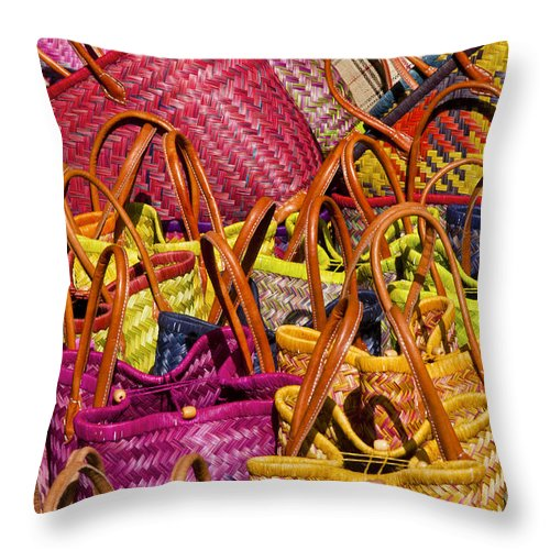 Market Day Lourmarin Markets Shopping Baskets Basket Woven Bag Hand Bags Handmade Handcrafted Still Life Shop Shops Store Stores Provence Throw Pillow featuring the photograph Shopping Baskets by Bob Phillips