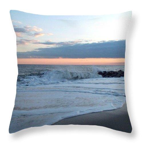 Shoreline Throw Pillow featuring the photograph Shoreline And Waves At Cape May by Eric Schiabor