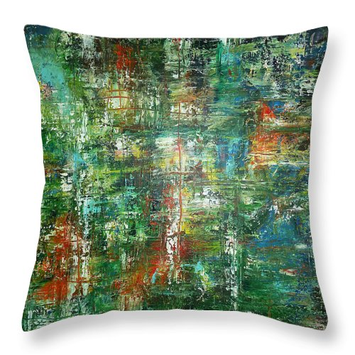 Derek Kaplan Art Throw Pillow featuring the painting Shot In The Dark by Derek Kaplan