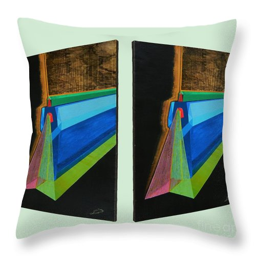 Spirituality Throw Pillow featuring the painting Shots Shifted - Hermite 6 by Michael Bellon