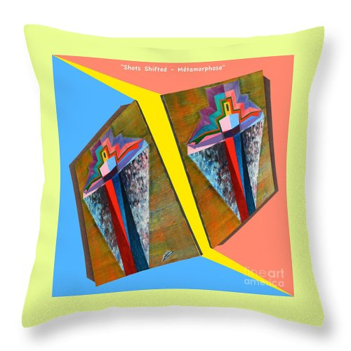 Spirituality Throw Pillow featuring the painting Shots Shifted - Metamorphose 3 by Michael Bellon