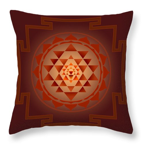 Shree Yantra Throw Pillow featuring the digital art Shree Yantra by Vijay Sonar