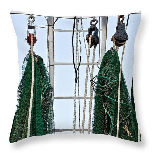 Shrimp Nets Throw Pillow featuring the photograph Shrimp Nets by Scott Pellegrin