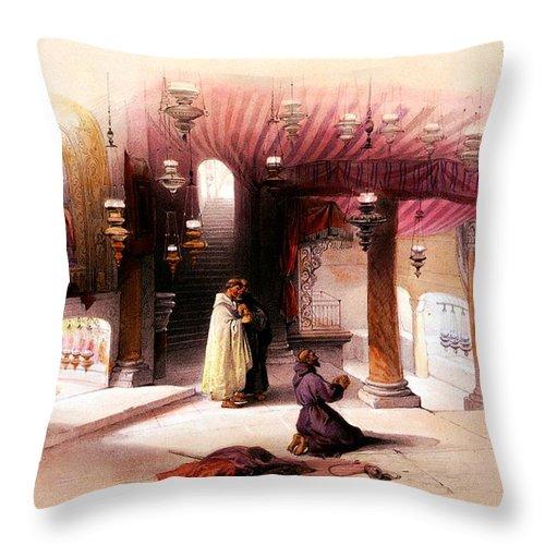 Bethlehem Throw Pillow featuring the photograph Shrine Of The Nativity Bethlehem April 6th 1839 by Munir Alawi