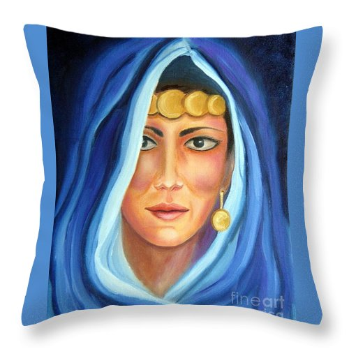 Gypsy Woman Throw Pillow featuring the painting Shroud Of Mysticism by Lora Duguay