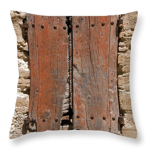 Lacoste France Board Boards Boarded Window Shuttered Windows Provence Architecture Cityscape Cityscapes Throw Pillow featuring the photograph Shuttered by Bob Phillips