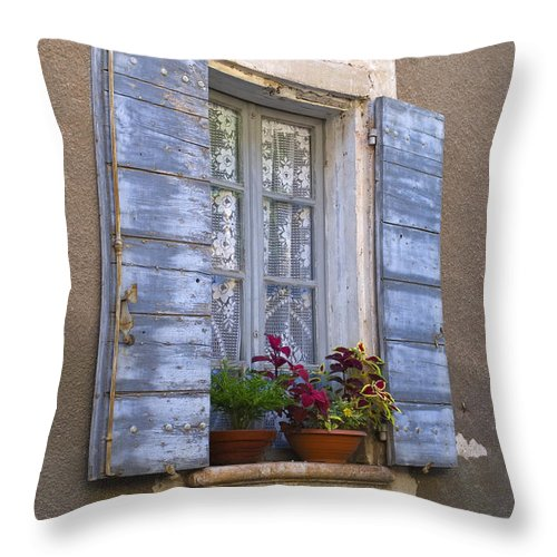 Window Throw Pillow featuring the photograph Shuttered Window, France by John Shaw