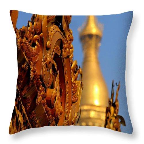 Shwe Dagon Pagoda Throw Pillow featuring the photograph Shwe Dagon Pagoda by Joshua Van Lare