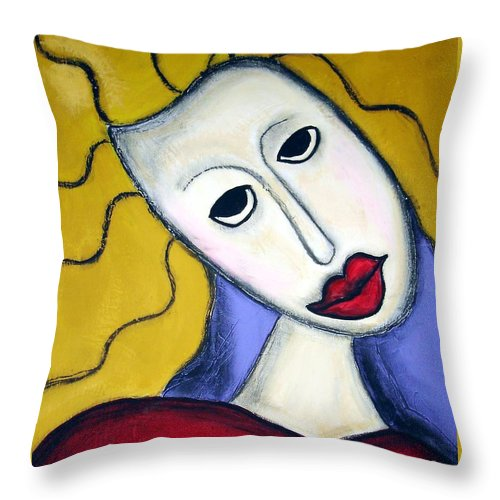 Portrait Throw Pillow featuring the painting Shy by Venus