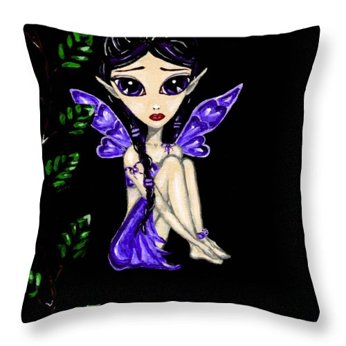 Fairy Throw Pillow featuring the painting Shy Violet Fairy by Bronwen Skye