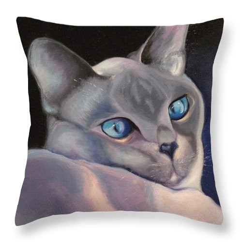 Cat Siamese Greeting Card Throw Pillow featuring the painting Siamese In Blue by Susan A Becker