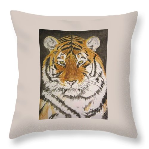 Siberian Tiger Throw Pillow featuring the painting Siberian Tiger by Regan J Smith