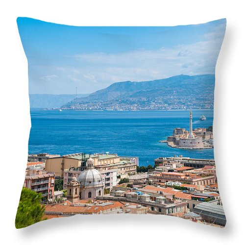 Aerial Throw Pillow featuring the photograph Sicily And Italy by Gurgen Bakhshetsyan