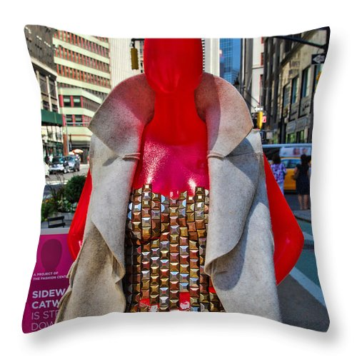 Broadway Catwalk Throw Pillow featuring the photograph Sidewalk Catwalk 8 by Allen Beatty