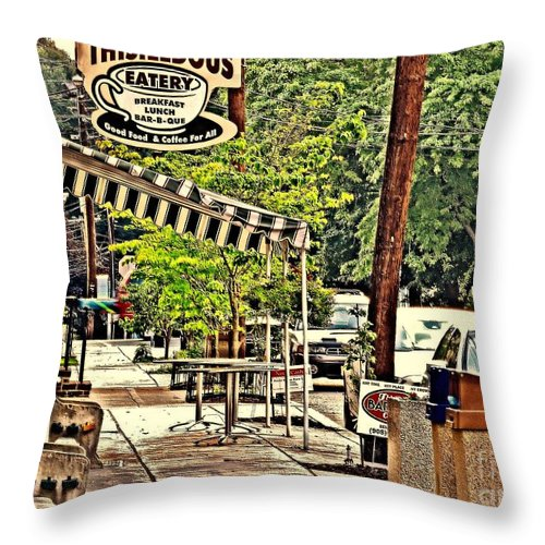 Photo Throw Pillow featuring the photograph Sidewalk Stop by Tami Quigley