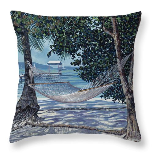 Foxy's Tamarind Bar. British Virgin Islands Throw Pillow featuring the painting Siesta Time by Danielle Perry