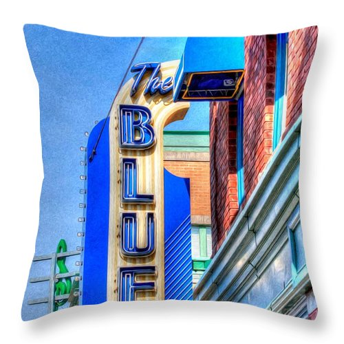 The Blue Room Throw Pillow featuring the photograph Sign - The Blue Room - Jazz District by Liane Wright