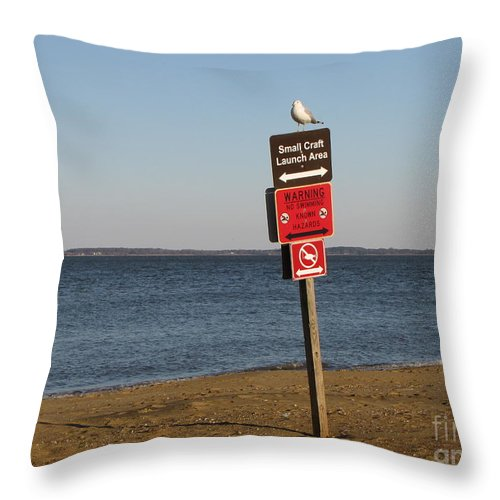Schuminweb Throw Pillow featuring the photograph Signage On The Beach At Sandy Point by Ben Schumin