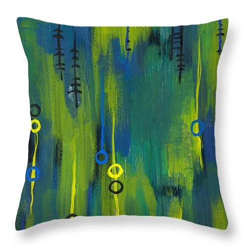 Acrylic Paintings Throw Pillow featuring the painting Signals by Aparna Raghunathan