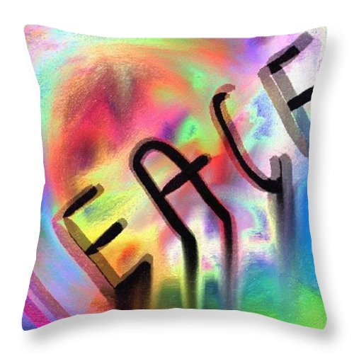 Peace Throw Pillow featuring the digital art Signs Of Peace by Tina Vaughn
