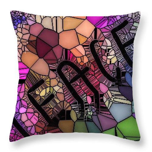 Peace Throw Pillow featuring the digital art Signs Of Peace V by Tina Vaughn