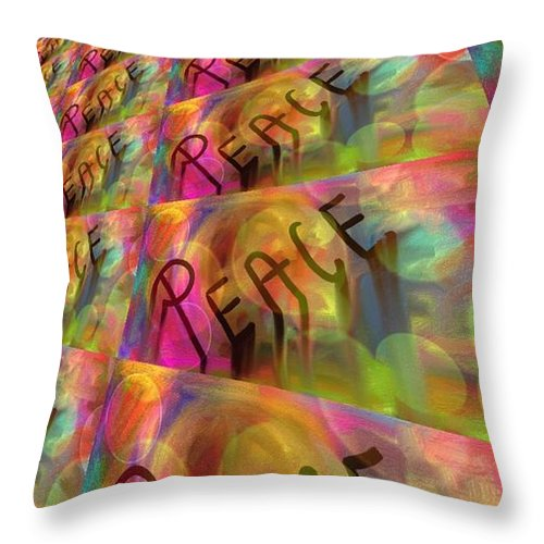 Peace Throw Pillow featuring the digital art Signs Of Peace X by Tina Vaughn