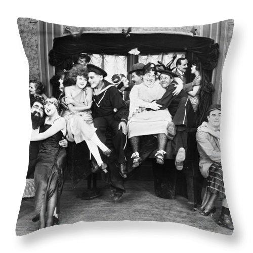 1919 Throw Pillow featuring the photograph Silent Film Still: Parties by Granger