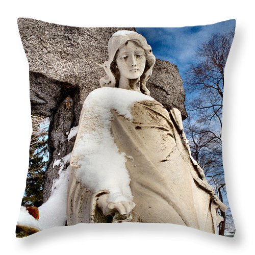 Angel Throw Pillow featuring the photograph Silent Winter Angel by Gothicrow Images