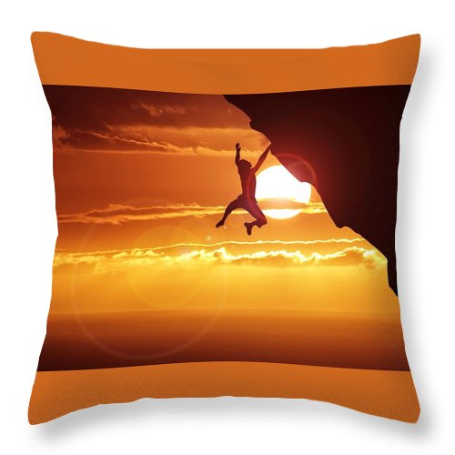 Tranquility Throw Pillow featuring the photograph Silhouette Man Hanging On Cliff Against by Stijn Dijkstra / Eyeem