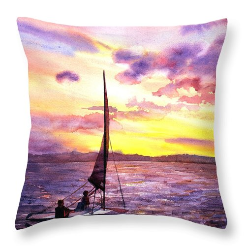 Arches Paper Throw Pillow featuring the painting Silhouette Of Boat And Sailors On Torch Lake Michigan Usa by Ryan Fox