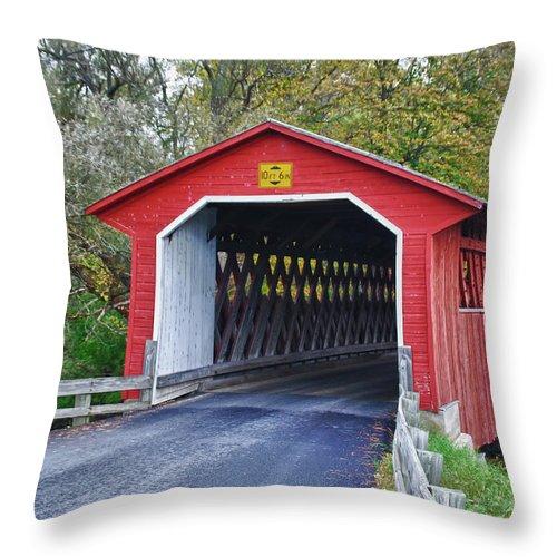 Bennington Throw Pillow featuring the photograph Silk Bridge 8258 by Guy Whiteley