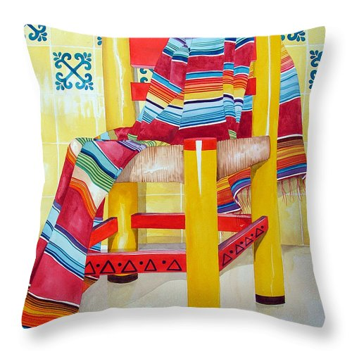 Still Life Painting Throw Pillow featuring the painting Silla De La Cocina--kitchen Chair by Kandyce Waltensperger