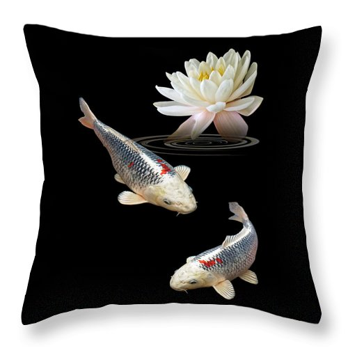 Fish Throw Pillow featuring the photograph Silver And Red Koi With Water Lily Vertical by Gill Billington