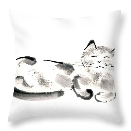 Silver Cat Throw Pillow featuring the painting Silver Cat by Janet Gunderson