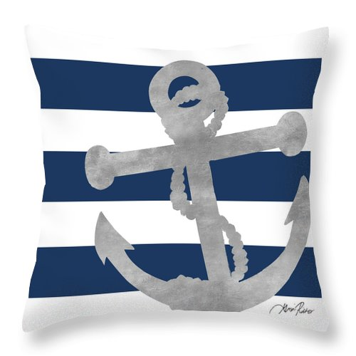 Silver Throw Pillow featuring the mixed media Silver Coastal On Blue Stripe I by Gina Ritter