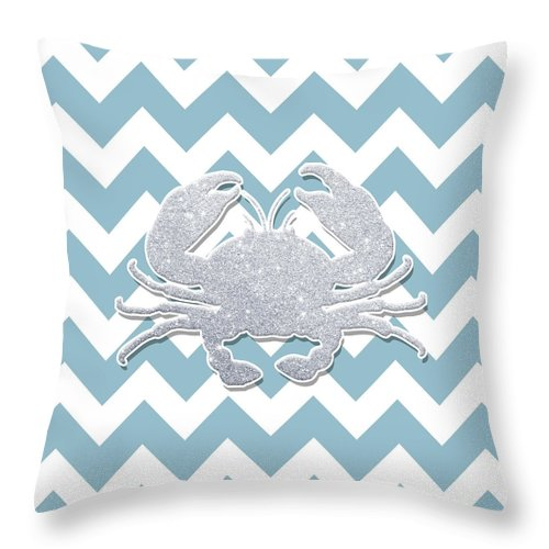 Crab Throw Pillow featuring the digital art Silver Glitter Crab Silhouette - Chevron Pattern by Pati Photography