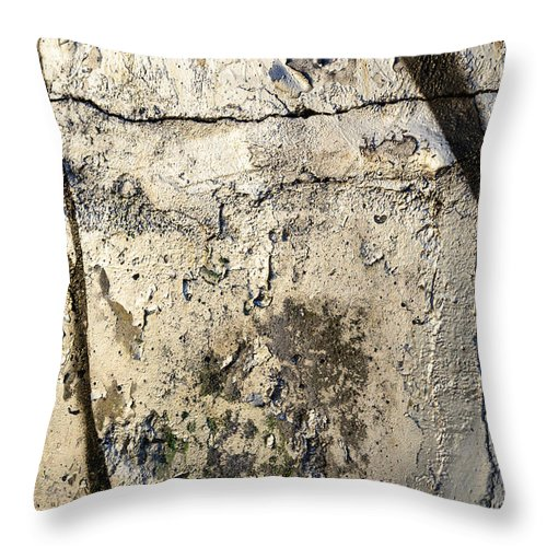 Abstract Throw Pillow featuring the photograph Silver Paint Texture by Alain De Maximy