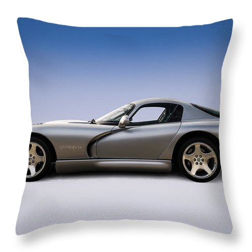 Dodge Throw Pillow featuring the digital art Silver Viper by Douglas Pittman