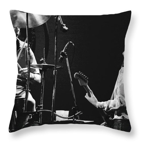 Simon Kirke Throw Pillow featuring the photograph Simon And Mick Of Bad Company In 1977 by Ben Upham