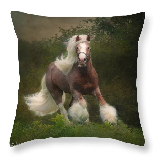 Horses Throw Pillow featuring the photograph Simon And The Storm by Fran J Scott