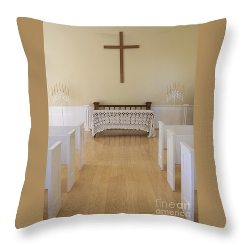 Chapel Throw Pillow featuring the photograph Simple Sunlit Chapel by Ann Horn