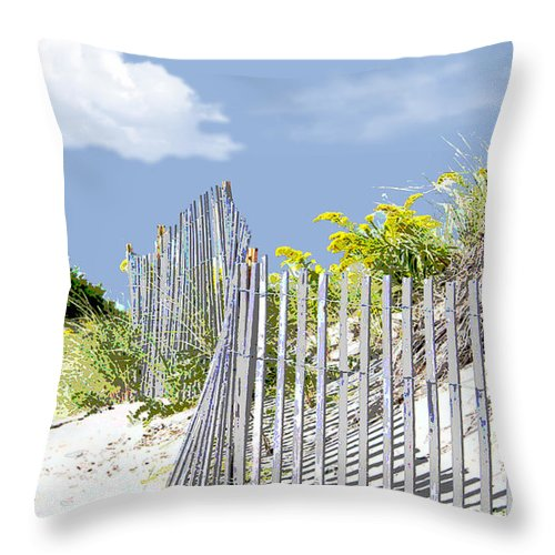Beach Throw Pillow featuring the painting Simplified View Of Coastal Dune by Elaine Plesser