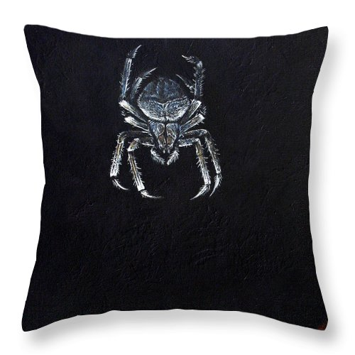 Simple Throw Pillow featuring the painting Simply Spider by Cara Bevan