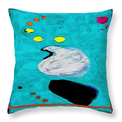 Abstract Throw Pillow featuring the painting Simply Turquoise by Dale Moses