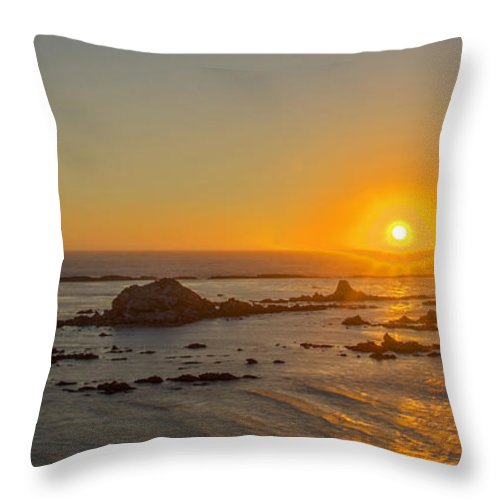 Oregon Coast Sunset Throw Pillow featuring the photograph Simpson Reef by Calazone's Flics