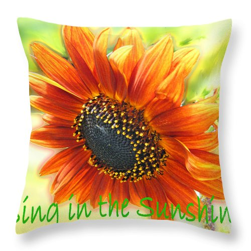 Greeting Card Throw Pillow featuring the digital art Sing In The Sunshine by Lizi Beard-Ward