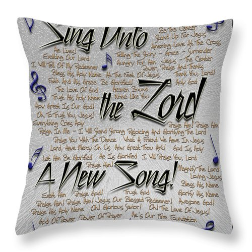 Praise Throw Pillow featuring the digital art Sing Unto The Lord A New Song by Carolyn Marshall